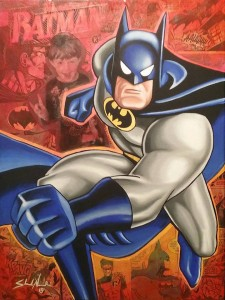 The Batman 11x14 Acrylic and collage on canvas SOLD