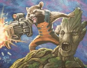 Rocket & Groot 11x14 Acrylic on canvas