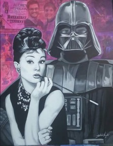 Audrey Vader 16x20 Acrylic and collage on canvas (SOLD)