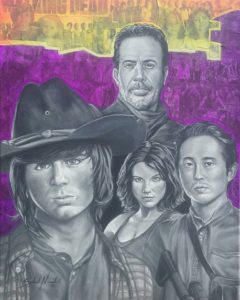The Walking Dead 16x20 Acrylic and collage on canvas