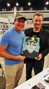 "Mr.Steve Guttenberg with his new ""Mahoney"" painting."