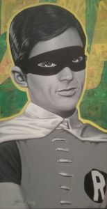 Robin 10 x20 Acrylic and collage on canvas